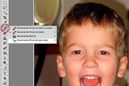 Empleo del pincel de ojos rojos